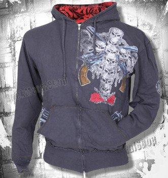 bluza z kapturem GUNS N' ROSES - SKULL CROSS (GRAY)