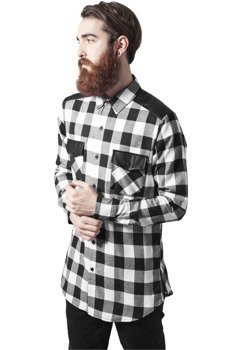 koszula SIDE-ZIP LEATHER SHOULDER FLANELL SHIRT blk/wht
