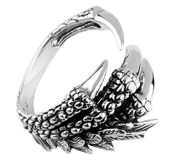 pierścień DRAGON CLAW, srebro 925
