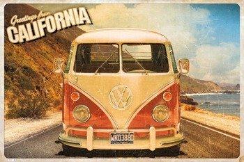 plakat VW CALIFORNIAN CAMPER - CALI POSTCARD