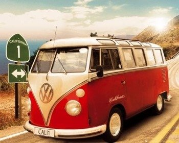 plakat VW CALIFORNIAN CAMPER - ROUTE ONE