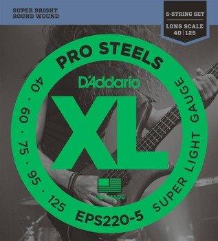 struny do gitary basowej 5str. D'ADDARIO EPS220-5 /040-125/