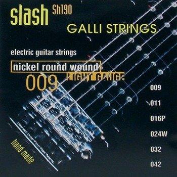 "struny do gitary elektrycznej GALLI STRINGS ""SLASH"" SH190 Nickel Wound /009-042/"