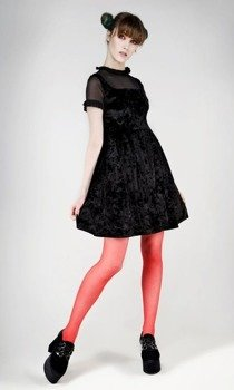 sukienka DISTURBIA - POLLY VELVET BLACK