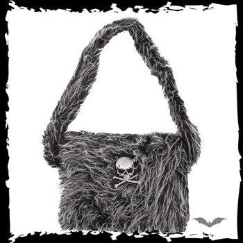 torba GRAY/BLACK FUR BAG WITH SKULL