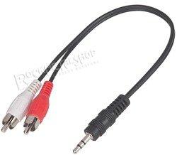 przewód audio 2 x RCA (cinch) - mały jack (3.5mm) stereo / 25cm