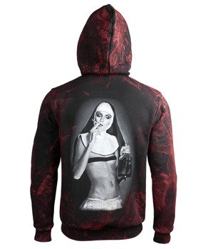 bluza AMENOMEN - NUN SMOKING (OMEN107CR ALLPRINT RED) rozpinana, z kapturem
