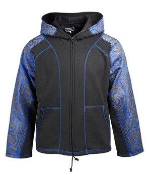 bluza HEXAGON - TRIBAL BLACK & BLUE rozpinana, z kapturem