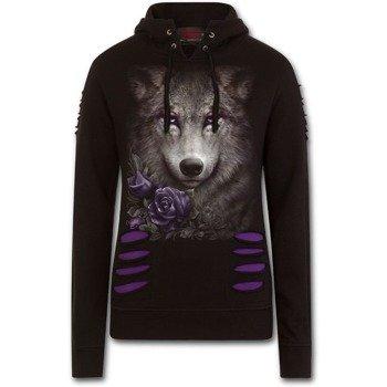 bluza damska WOLF ROSES czarna, z kapturem