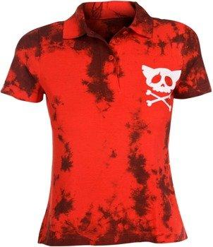 bluzka polo barwiona RED MIX - WHITE SKULL