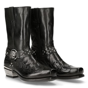 buty NEW ROCK M.7964-S2 BUFO NEGRO, WEST NEGRO CUADRADO tacon DALLAS ACERO