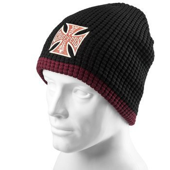 czapka zimowa WEST COAST CHOPPERS - KNITTED CROSS BLACK/BORDEAUX