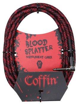 """kabel do gitary COFFIN """"BLOOD SPLATTER"""" CF-ICBS10R / jack kątowy/prosty / 3m"""
