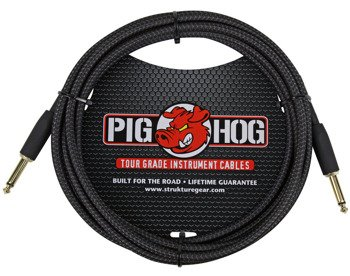 "kabel do gitary PIG HOG ""Black Woven"" jack prosty, 3m"