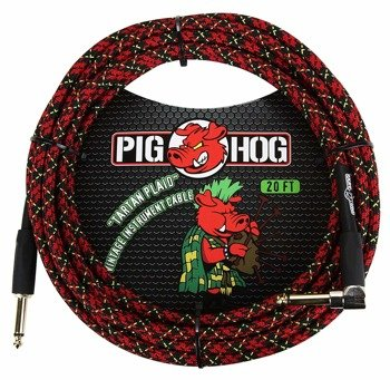 "kabel do gitary PIG HOG ""Tartan Plaid"" jack kątowy-prosty, 6m"