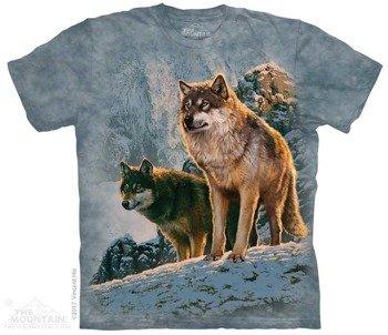 koszulka THE MOUNTAIN - WOLF COUPLE SUNSET, barwiona