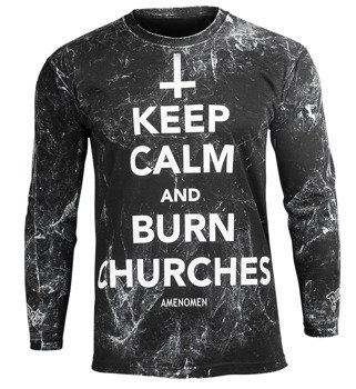longsleeve AMENOMEN - KEEP CALM AND BURN CHURCHES (OMEN069LO ALLPRINT WHITE)