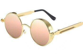 okulary LENONKI STEAMPUNK RETRO RAY GOLD PINK