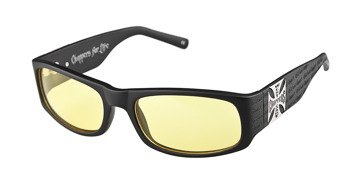 okulary WEST COAST CHOPPERS - MATTE BLACK WITH YELLOW LENSES