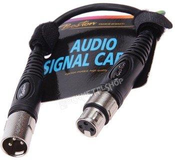 przewód mikrofonowy BOSTON: XLR męski - XLR damski / 0,30m