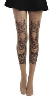 rajstopy SEE, HEAR, SPEAK NO EVIL GOTHIC TATTOO TIGHTS nude