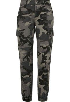 spodnie bojówki damskie HIGH WAIST CAMO darkcamo