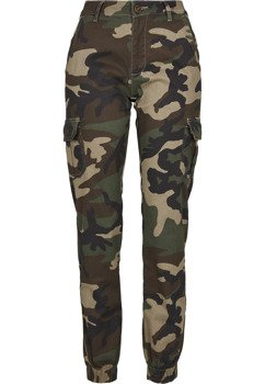 spodnie bojówki damskie HIGH WAIST CAMO woodcamo