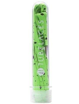 sznurowadła TUBELACES - WHITE FLAT SPLATTER NEON GREEN (130 cm)
