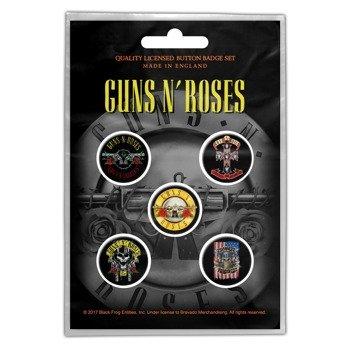 zestaw 5 szt. przypinek GUNS N ROSES - BULLET LOGO