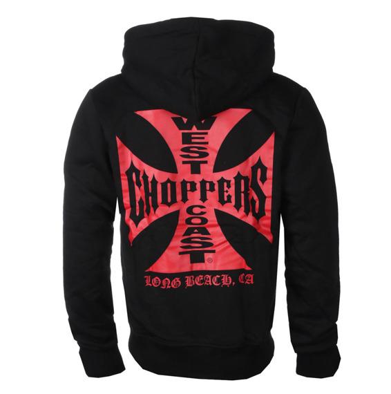 bluza WEST COAST CHOPPERS - RED OG CROSS, rozpinana z kapturem