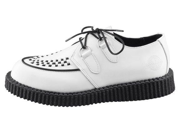 buty creepers NEVERMIND - BIAŁE polerowane