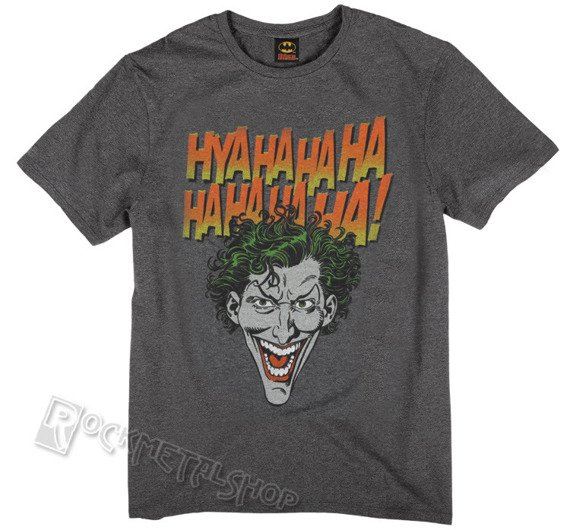 koszulka BATMAN - JOKER FACE HYAHAHAHA antracytowy melanż