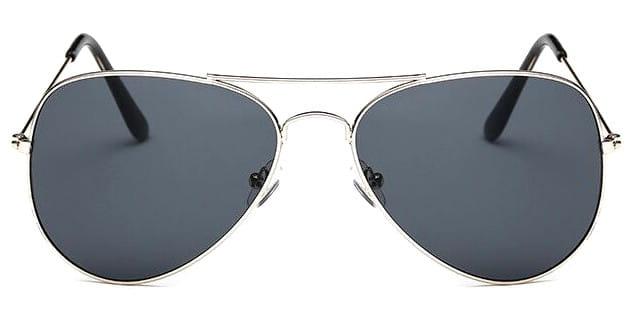 okulary przeciwsłoneczne AVIATOR SILVER (czarne szkła)