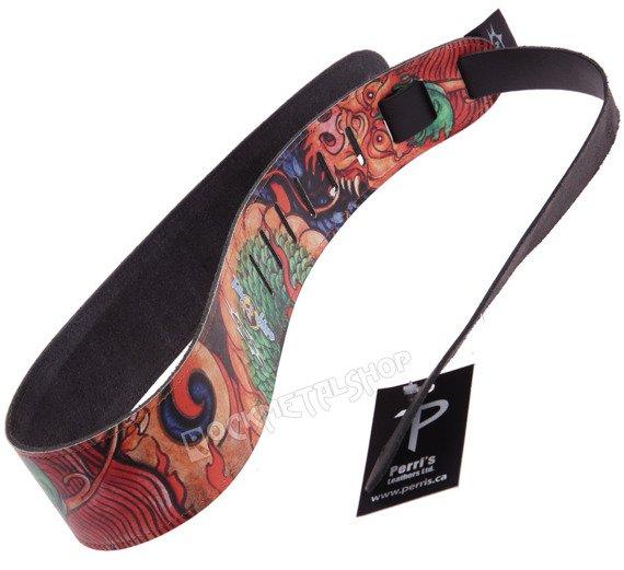pas do gitary TATTOO JOHNNY - CHINESE DRAGON skórzany, 63mm