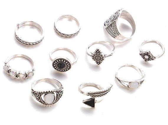 pierścionek GOTHIC SILVER, zestaw 10 szt