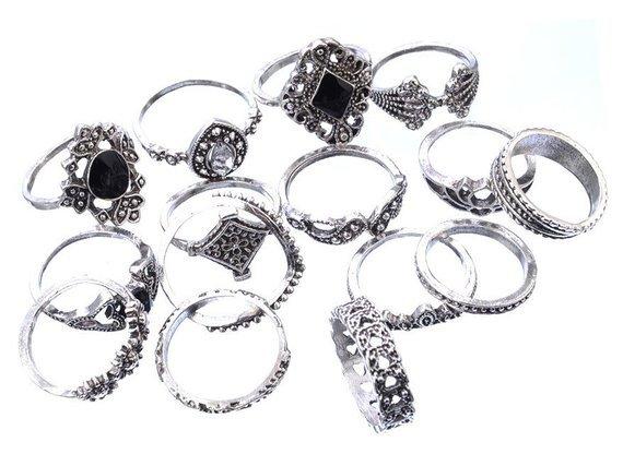pierścionek GOTHIC SILVER, zestaw 15 szt