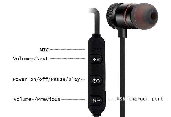 słuchawki bezprzewodowe DOUSZNE BLUETOOTH 4.0, do biegania
