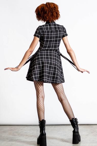 sukienka KILLSTAR - MENACE (ASH TARTAN)