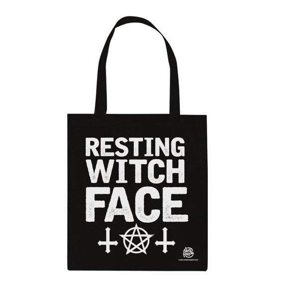 torba na ramię WITCH PLEASE - RESTING WITCH FACE bawełniana